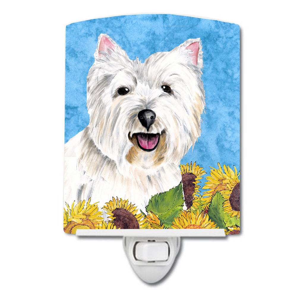 Westie in Summer Flowers Ceramic Night Light SC9070CNL by Caroline's Treasures