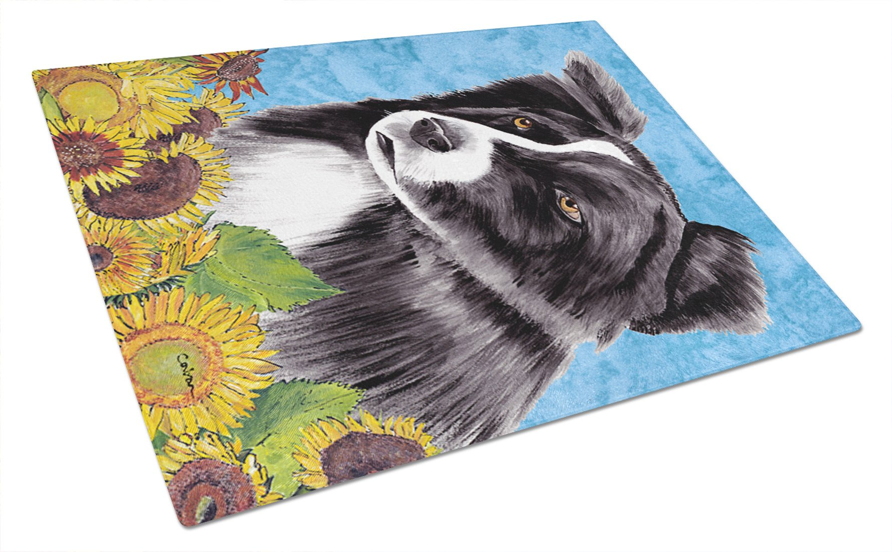 Border Collie Glass Cutting Board Large by Caroline's Treasures
