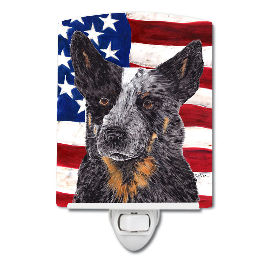 Buy this USA American Flag with Australian Cattle Dog Ceramic Night Light SC9109CNL