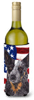 USA American Flag with Australian Cattle Dog Wine Bottle Beverage Insulator Beverage Insulator Hugger by Caroline's Treasures