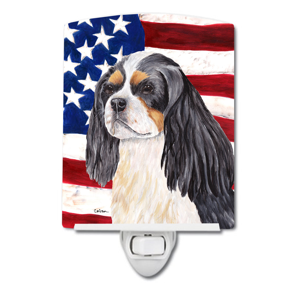 Buy this USA American Flag with Cavalier Spaniel Ceramic Night Light SC9114CNL
