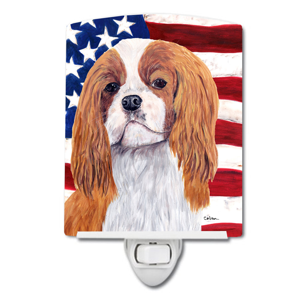Buy this USA American Flag with Cavalier Spaniel Ceramic Night Light SC9115CNL
