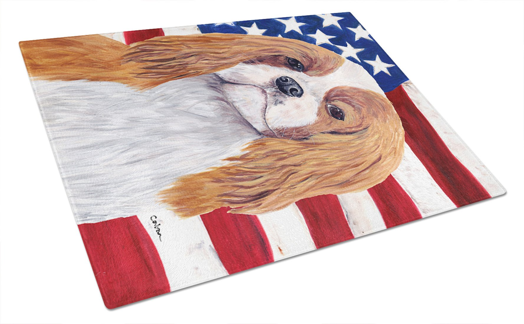 USA American Flag with Cavalier Spaniel Glass Cutting Board Large by Caroline's Treasures