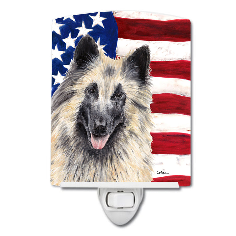Buy this USA American Flag with Belgian Tervuren Ceramic Night Light SC9116CNL