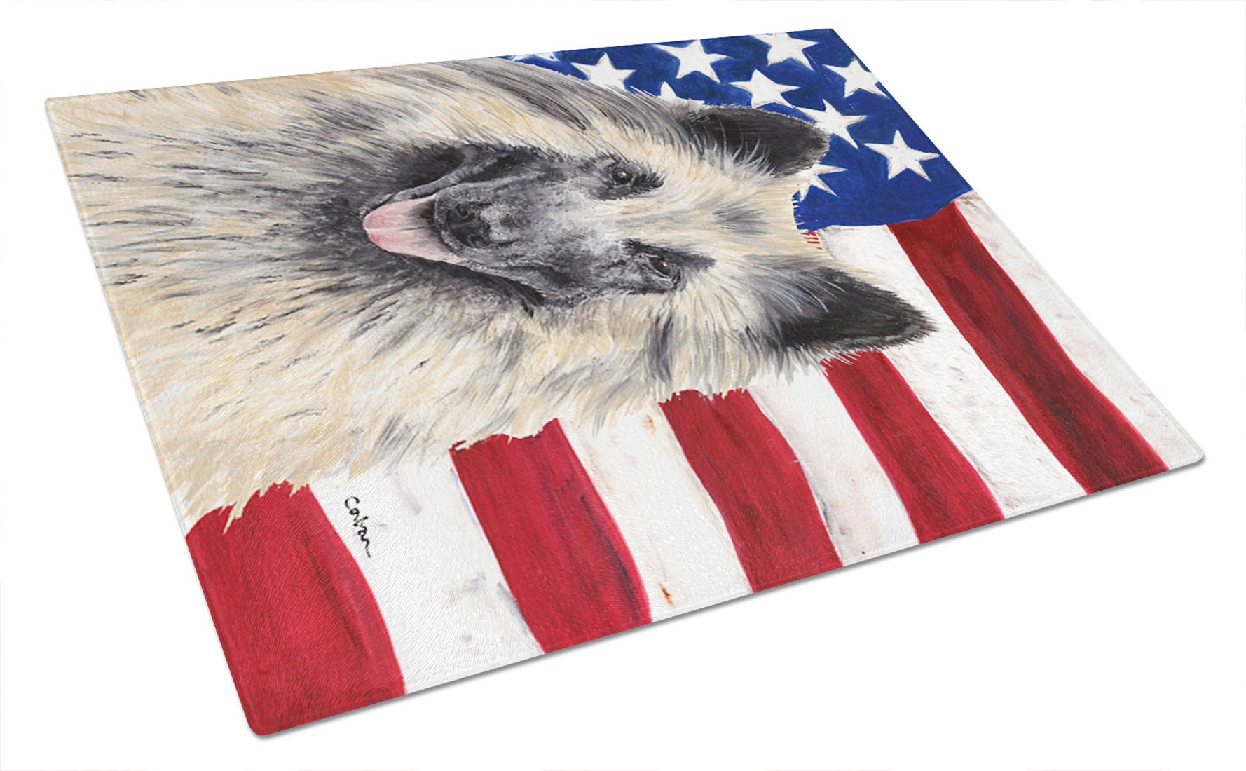 USA American Flag with Belgian Tervuren Glass Cutting Board Large by Caroline's Treasures