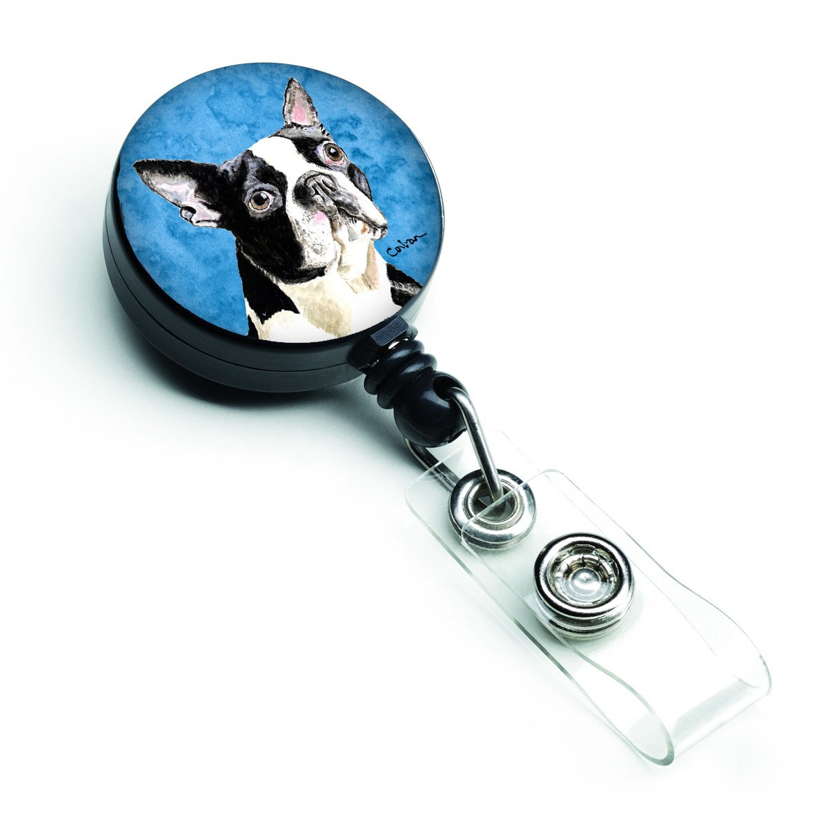 Boston Terrier Retractable Badge Reel or ID Holder with Clip by Caroline's Treasures
