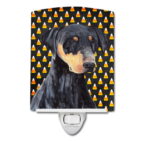 Buy this Doberman Natural Ears Candy Corn Halloween Portrait Ceramic Night Light SC9148CNL