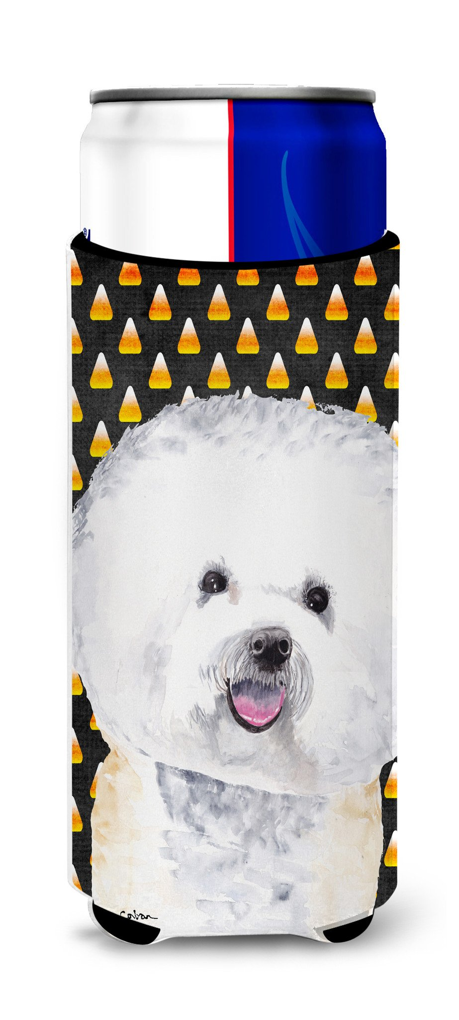 Bichon Frise Candy Corn Halloween Portrait Ultra Beverage Insulators for slim cans SC9173MUK by Caroline's Treasures