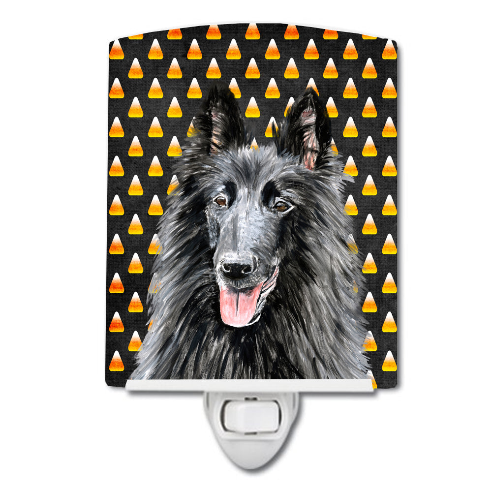 Buy this Belgian Sheepdog Candy Corn Halloween Portrait Ceramic Night Light SC9196CNL