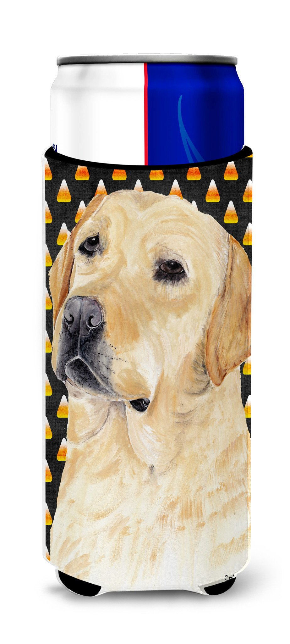 Labrador Yellow Candy Corn Halloween Portrait Ultra Beverage Insulators for slim cans SC9198MUK by Caroline's Treasures
