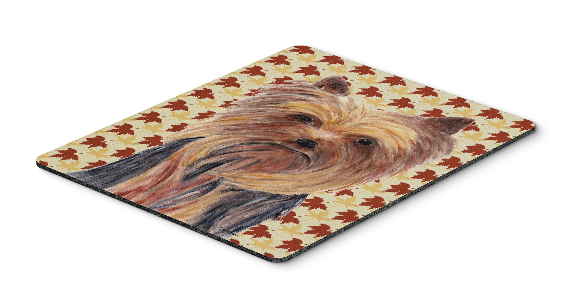 Buy this Yorkie Fall Leaves Portrait Mouse Pad, Hot Pad or Trivet