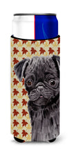Pug Black Fall Leaves Portrait Ultra Beverage Insulators for slim cans SC9206MUK by Caroline's Treasures
