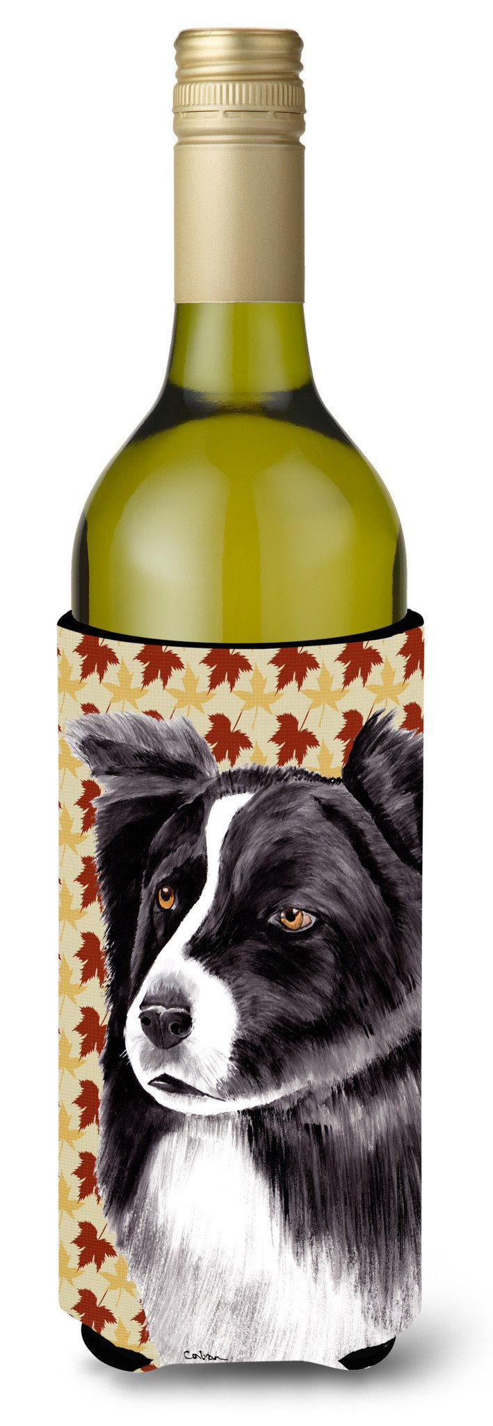 Border Collie Fall Leaves Portrait Wine Bottle Beverage Insulator Beverage Insulator Hugger by Caroline's Treasures