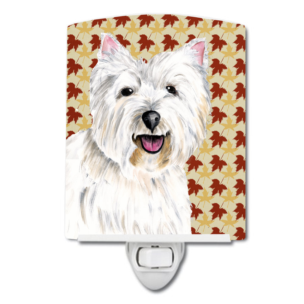 Westie Fall Leaves Portrait Ceramic Night Light SC9210CNL by Caroline's Treasures