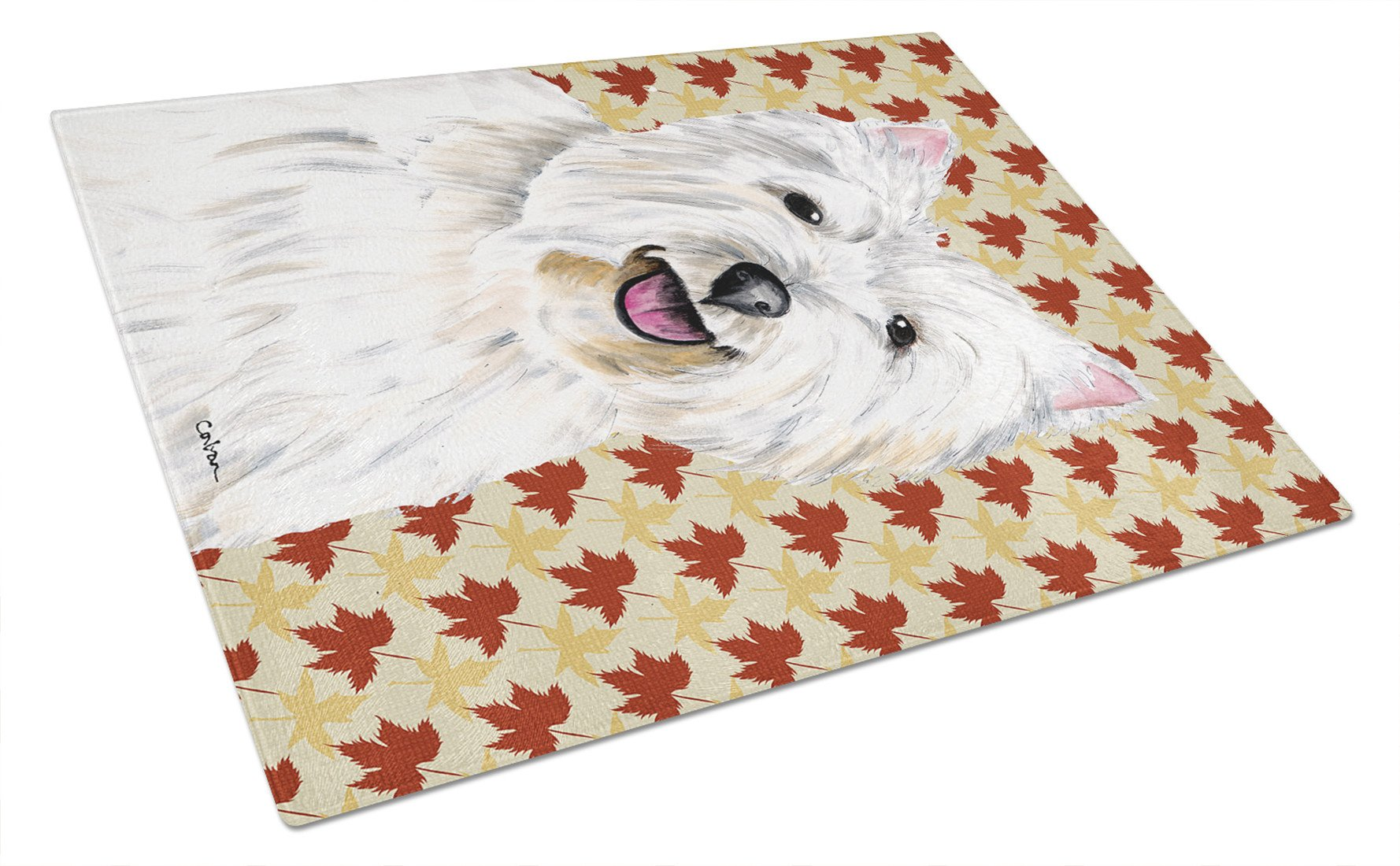 Westie Fall Leaves Portrait Glass Cutting Board Large by Caroline's Treasures