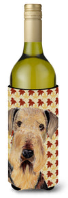 Airedale Fall Leaves Portrait Wine Bottle Beverage Insulator Beverage Insulator Hugger SC9213LITERK by Caroline's Treasures