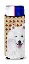 American Eskimo Fall Leaves Portrait Ultra Beverage Insulators for slim cans SC9218MUK by Caroline's Treasures