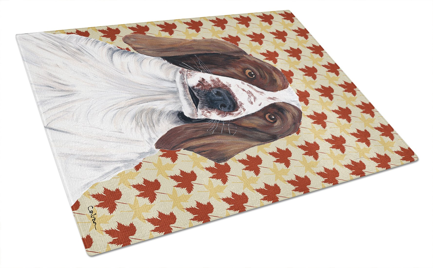 Welsh Springer Spaniel Fall Leaves Portrait Glass Cutting Board Large by Caroline's Treasures
