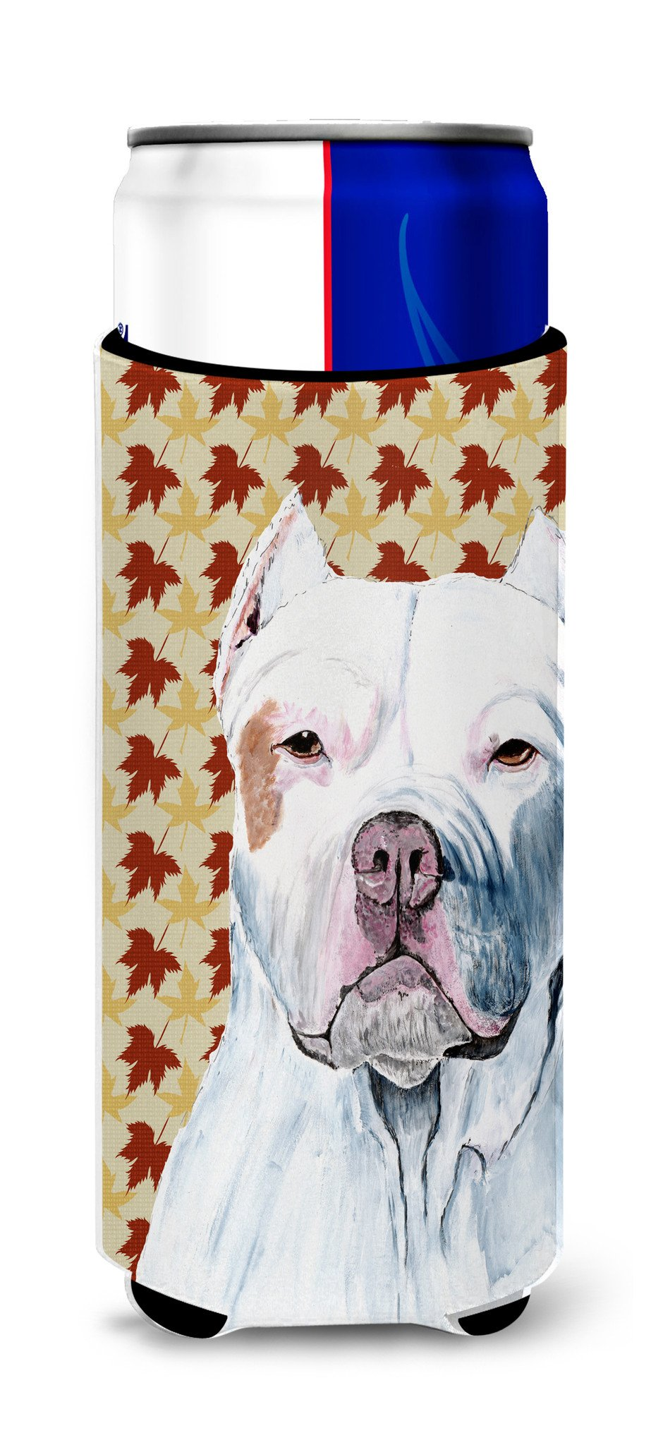 Pit Bull Fall Leaves Portrait Ultra Beverage Insulators for slim cans SC9221MUK by Caroline's Treasures