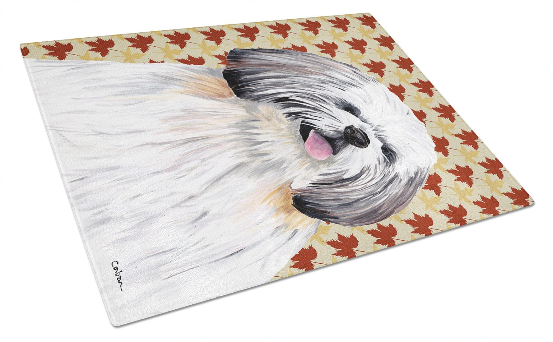 Shih Tzu Fall Leaves Portrait Glass Cutting Board Large by Caroline's Treasures