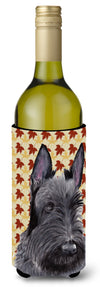 Buy this Scottish Terrier Fall Leaves Portrait Wine Bottle Beverage Insulator Beverage Insulator Hugger