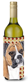 Buy this Boxer Fall Leaves Portrait Wine Bottle Beverage Insulator Beverage Insulator Hugger