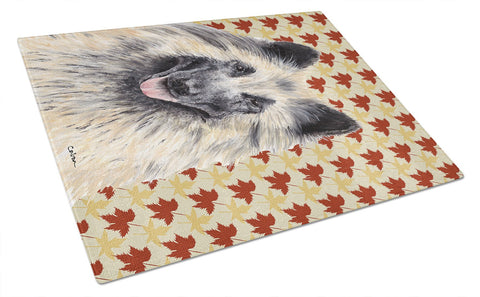 Buy this Belgian Tervuren Fall Leaves Portrait Glass Cutting Board Large