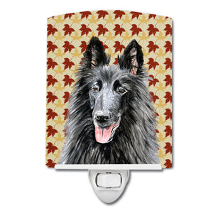 Buy this Belgian Sheepdog Fall Leaves Portrait Ceramic Night Light SC9238CNL