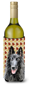 Buy this Belgian Sheepdog Fall Leaves Portrait Wine Bottle Beverage Insulator Beverage Insulator Hugger