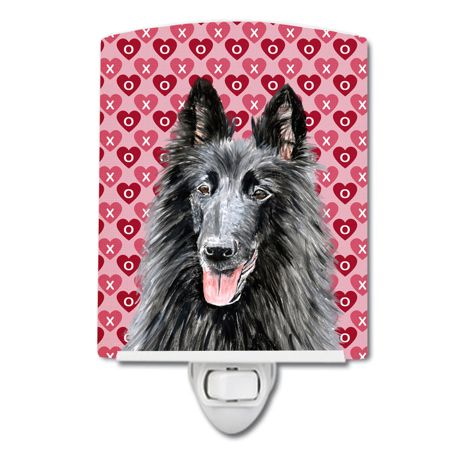 Buy this Belgian Sheepdog Hearts Love and Valentine's Day Portrait Ceramic Night Light SC9241CNL