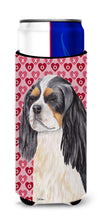 Cavalier Spaniel Hearts Love and Valentine's Day Portrait Ultra Beverage Insulators for slim cans SC9248MUK by Caroline's Treasures
