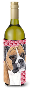 Buy this Boxer Hearts Love and Valentine's Day Portrait Wine Bottle Beverage Insulator Beverage Insulator Hugger
