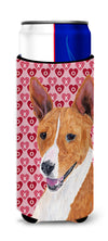 Basenji Hearts Love and Valentine's Day Portrait Ultra Beverage Insulators for slim cans SC9252MUK by Caroline's Treasures