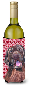 Labrador Chocolate Hearts Love Valentine's Day Wine Bottle Beverage Insulator Beverage Insulator Hugger by Caroline's Treasures