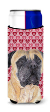 Mastiff Hearts Love and Valentine's Day Portrait Ultra Beverage Insulators for slim cans SC9255MUK by Caroline's Treasures