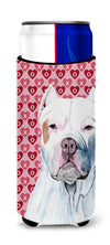 Pit Bull Hearts Love and Valentine's Day Portrait Ultra Beverage Insulators for slim cans SC9258MUK by Caroline's Treasures