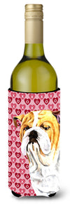 Buy this Bulldog English Hearts Love Valentine's Day Portrait Wine Bottle Beverage Insulator Beverage Insulator Hugger