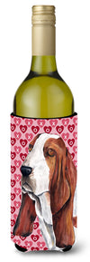 Basset Hound Hearts Valentine's Day Portrait Wine Bottle Beverage Insulator Beverage Insulator Hugger by Caroline's Treasures