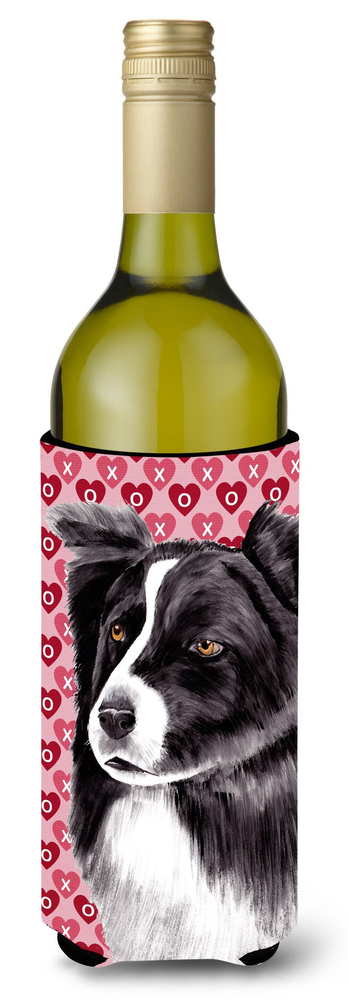 Border Collie Hearts Love  Valentine's Day Portrait Wine Bottle Beverage Insulator Beverage Insulator Hugger by Caroline's Treasures