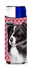 Border Collie Hearts Love and Valentine's Day Portrait Ultra Beverage Insulators for slim cans SC9272MUK by Caroline's Treasures