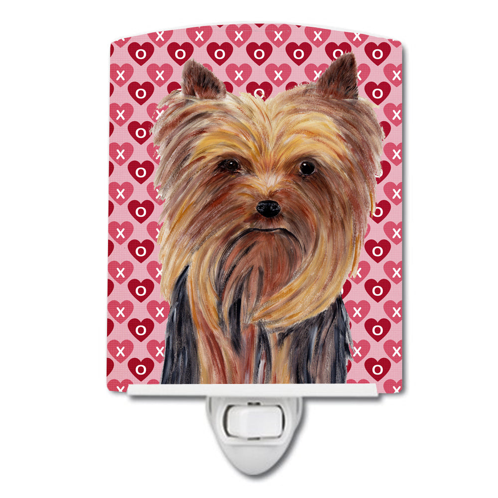Yorkie Hearts Love and Valentine's Day Portrait Ceramic Night Light SC9274CNL by Caroline's Treasures
