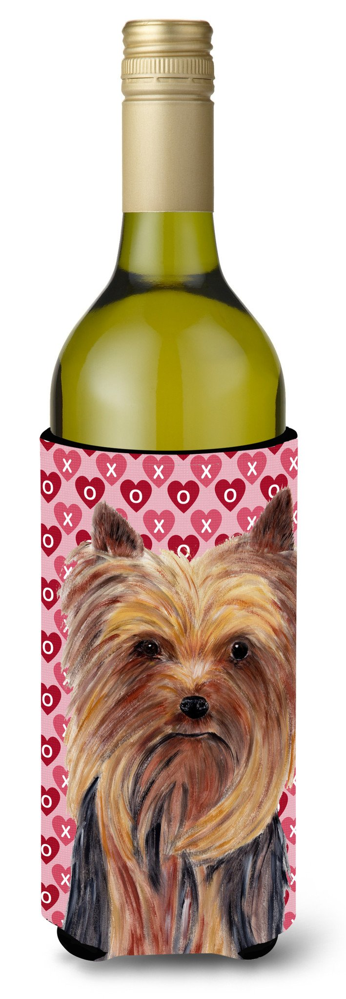 Yorkie Hearts Love and Valentine's Day Portrait Wine Bottle Beverage Insulator Beverage Insulator Hugger by Caroline's Treasures