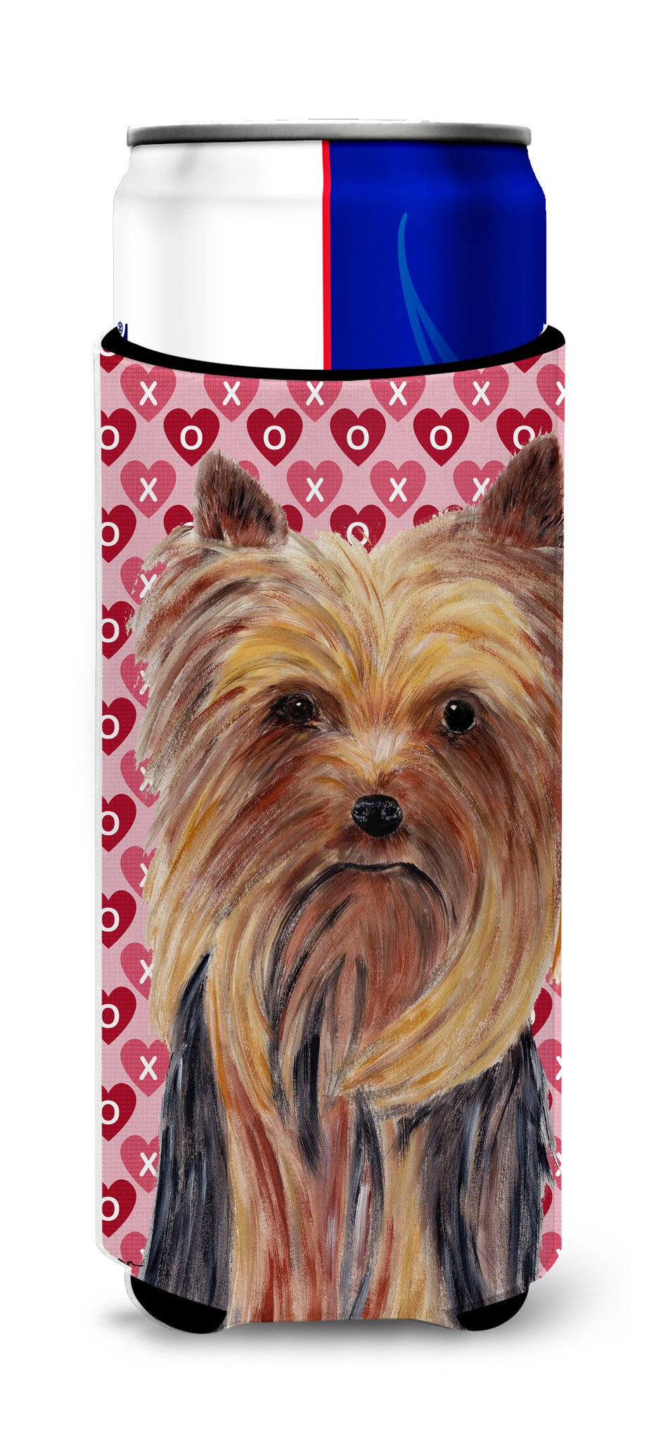 Yorkie Hearts Love and Valentine's Day Portrait Ultra Beverage Insulators for slim cans SC9274MUK by Caroline's Treasures