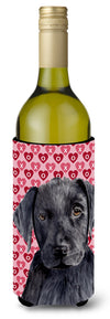 Labrador Black Hearts Love Valentine's Day Wine Bottle Beverage Insulator Beverage Insulator Hugger by Caroline's Treasures