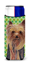 Yorkie St. Patrick's Day Shamrock Portrait Ultra Beverage Insulators for slim cans SC9285MUK by Caroline's Treasures