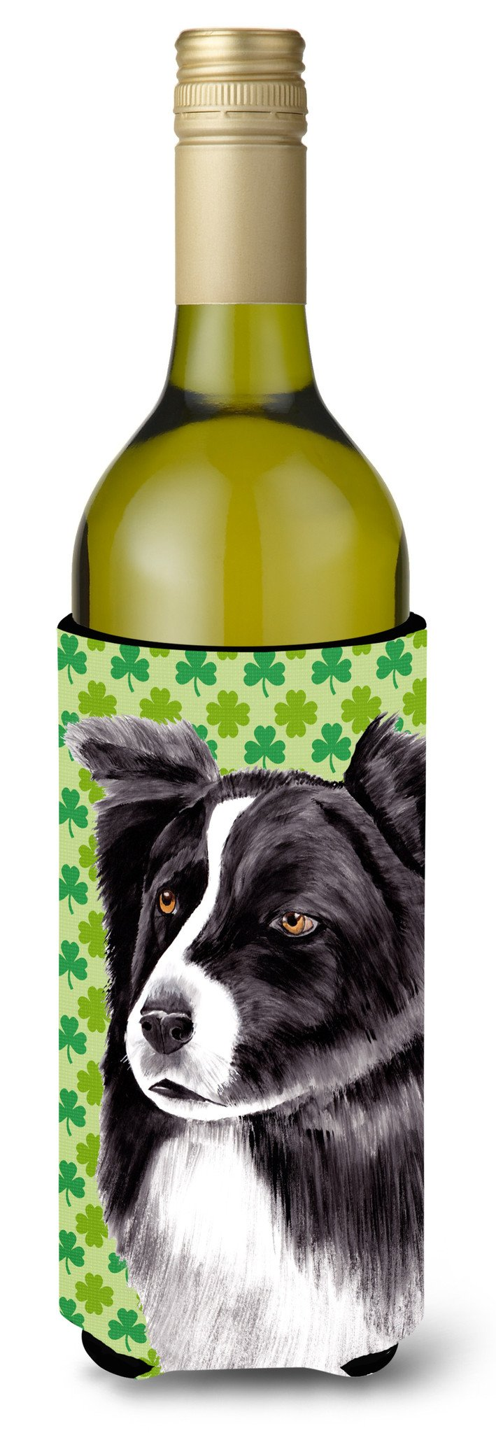 Border Collie St. Patrick's Day Shamrock Portrait Wine Bottle Beverage Insulator Beverage Insulator Hugger by Caroline's Treasures