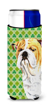 Bulldog English St. Patrick's Day Shamrock Portrait Ultra Beverage Insulators for slim cans SC9294MUK by Caroline's Treasures