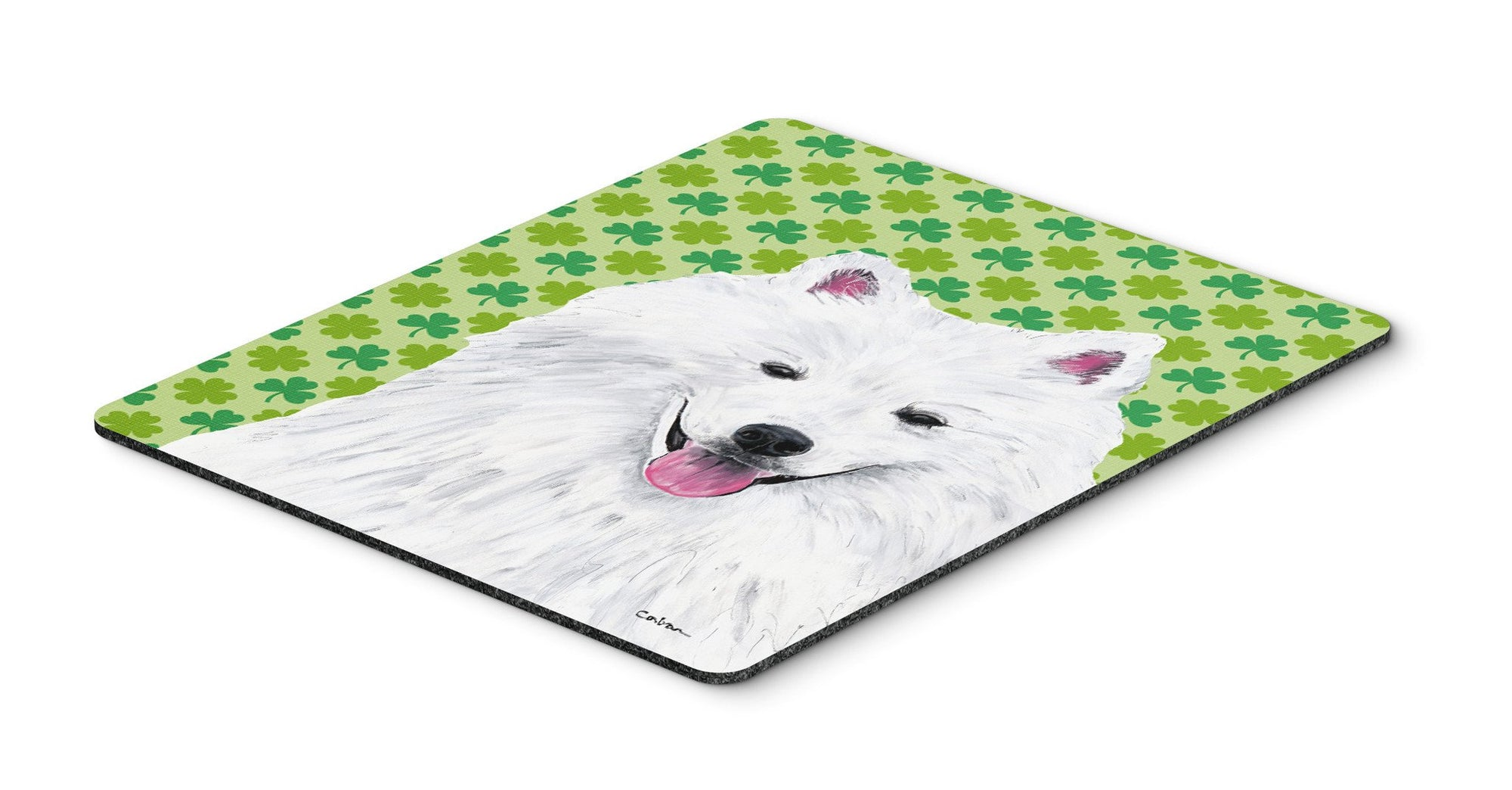 American Eskimo St. Patrick's Day Shamrock Mouse Pad, Hot Pad or Trivet by Caroline's Treasures