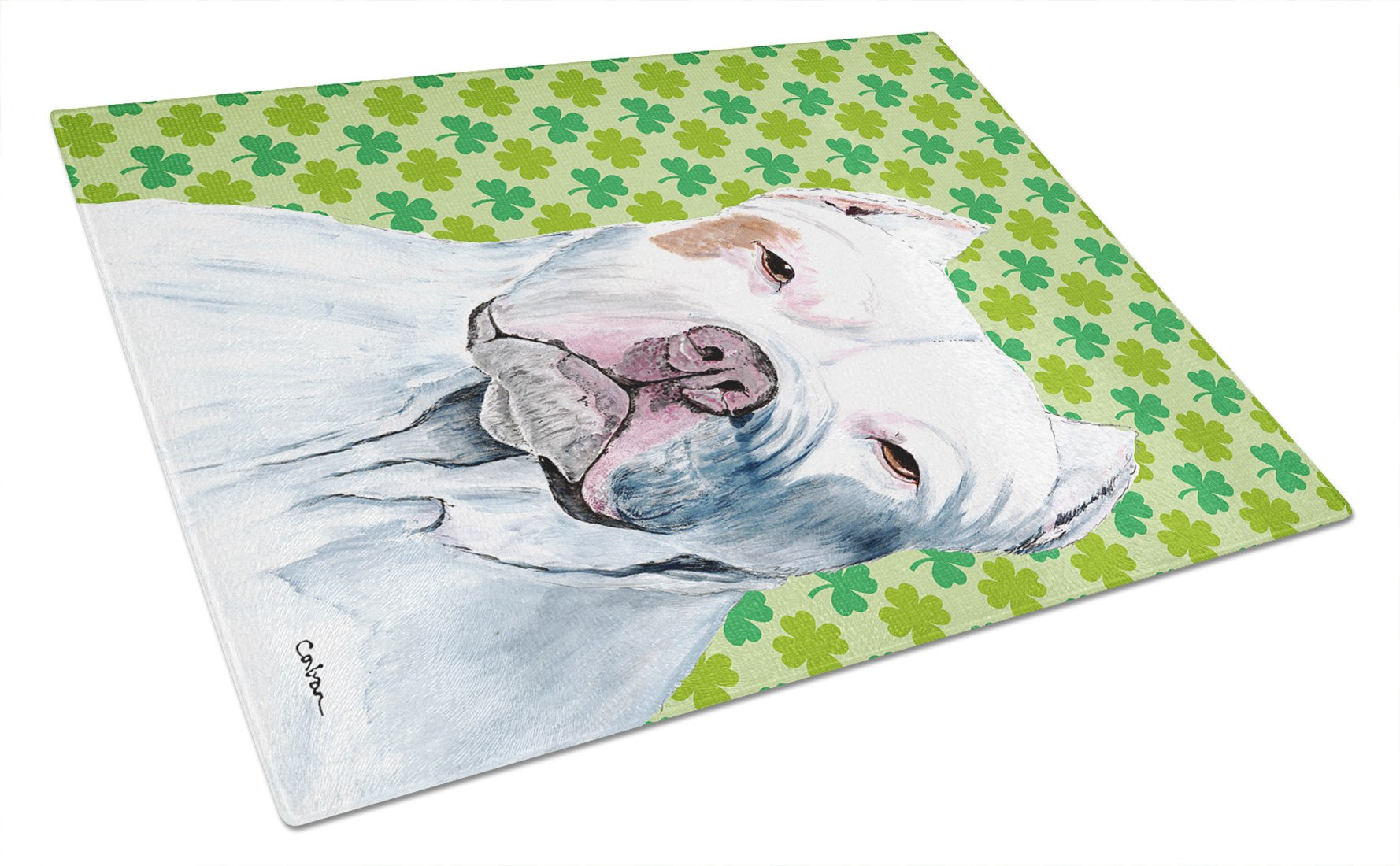 Pit Bull St. Patrick's Day Shamrock Portrait Glass Cutting Board Large by Caroline's Treasures