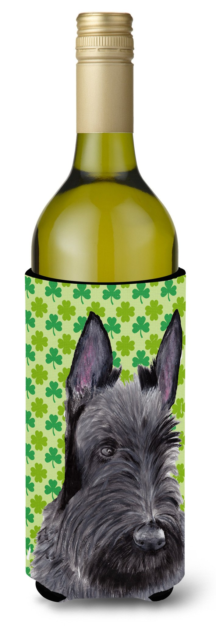 Scottish Terrier St. Patrick's Day Shamrock Portrait Wine Bottle Beverage Insulator Beverage Insulator Hugger by Caroline's Treasures
